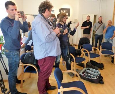 Die Medienverterter während des Pressegesprächs am 19. September